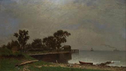 William Marple 19th c. Lake Pepin Minnesota Oil Painting