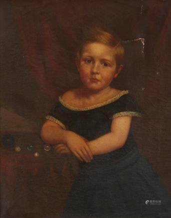 19th Century American School Portrait of a Girl Unsigned
