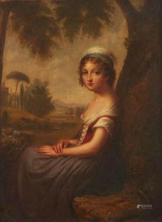 Cephas Giovanni Thompson Italian Girl Oil on Canvas Laid Board