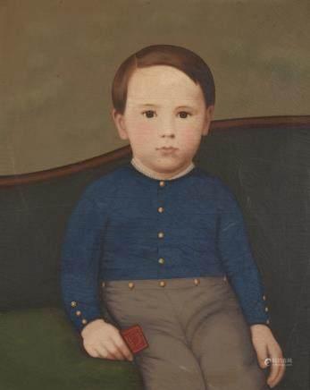 19th Century American School Folk Art Portrait of a Boy in a Blue Shirt