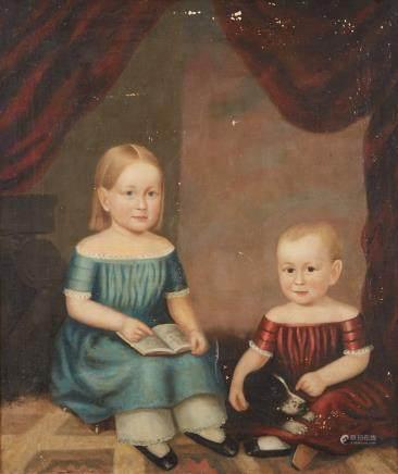 19th Century American School Folk Art Portrait Children and a Dog Unsigned