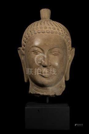 7th Century Style Khmer Stone Buddha Head