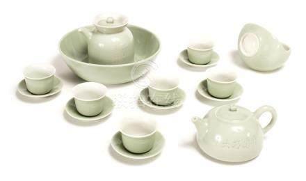 A Xiaofang Kiln Celadon-Glazed Tea Set