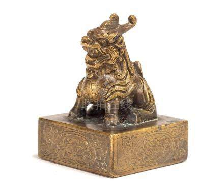 A  Bronze Seal With Beast Finial