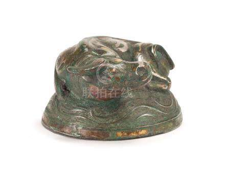 A Gilt-And-Silver-Inlaid Bronze Paper Weight