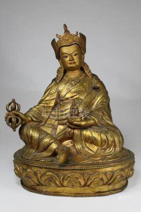 Large Tibetan Gilt Bronze Figure of Padmasambhava