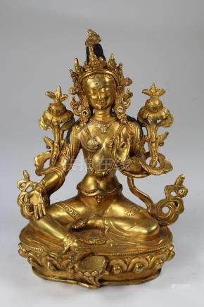 Tibetan Gilt Bronze Figure of White Tara, Qing