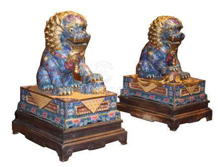 Large Pair of Chinese Cloisonne Foo Dogs