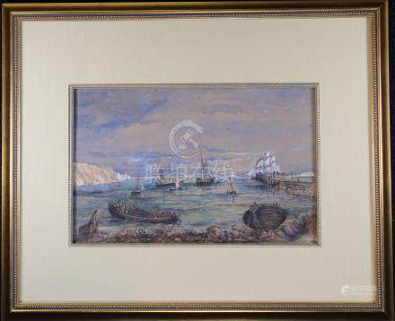 1874, Signed Harbor Scene Mixed Media