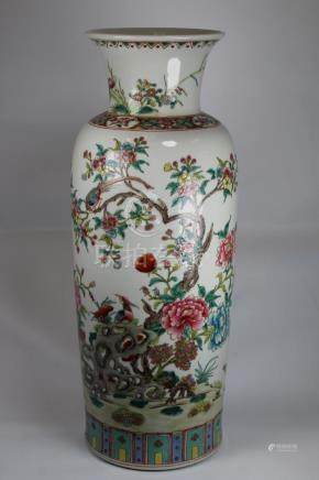 Chinese Famille Rose Porcelain Tapered Vase