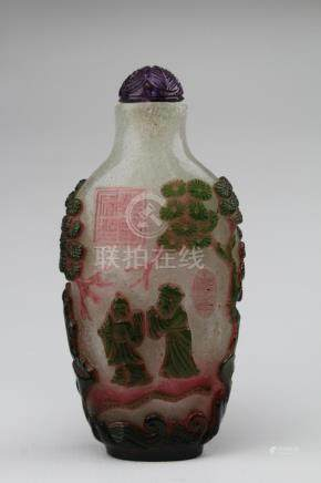 Finely Carved MultiColor Peking Glass Snuff Bottle
