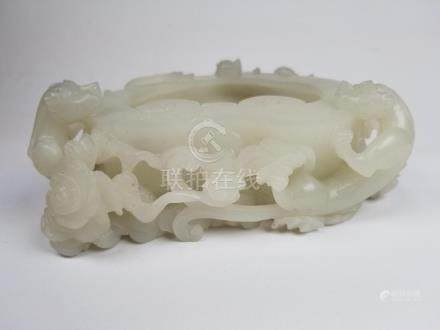 White Jade Chinese Carved Coupe w/ Qilins