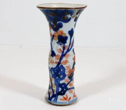 An 18thC. Chinese Gu vase with imari colouring 5.8