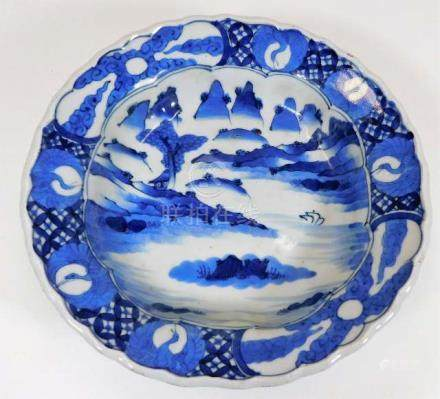 A Chinese blue & white decorated bowl approx. 10.5
