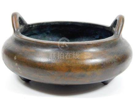 A Chinese bronze censer with four character mark t