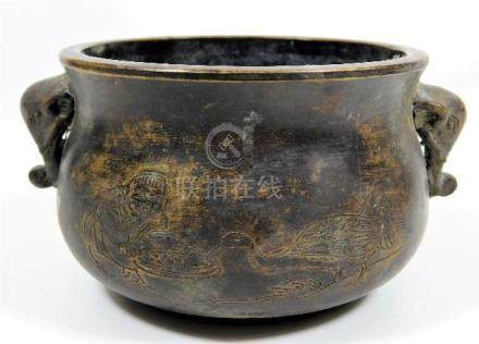 A Chinese bronze censer, decorated with elephant h