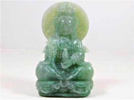 A well carved jade Tibetan figure of Buddha 4.5in