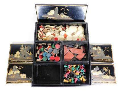 A Chinese lacquerware games compendium, box measur