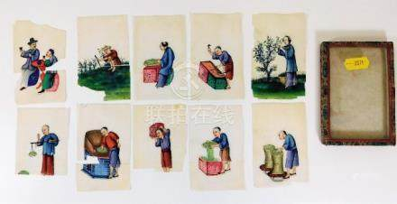 A set of ten Chinese hand painted rice cards with