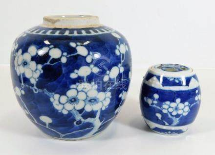 A c.1910 Chinese prunus decor ginger jar & pot & c