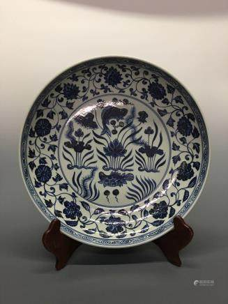 Chinese Blue-White 'Fish&Flowers' Plate
