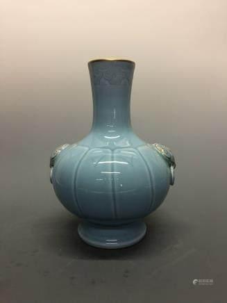 Chinese Azure Glazed Vase with Beast Heads Handle, Qianlong Mark