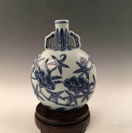 Chinese Blue&White Moon Flask Vase