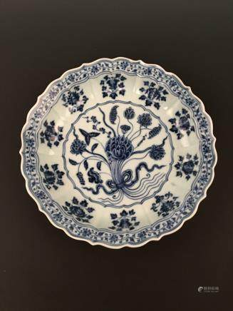 White-Blue Dish of A Bunch of Lotus with Xuande Mark