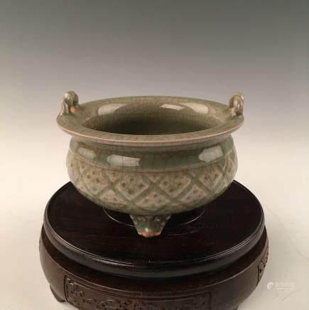 Chinese Celadon Glazed Porcelain Censer
