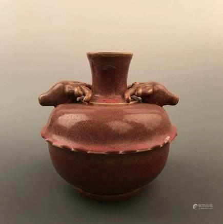 Chinese Red Glazed Vase with Kangxi Mark