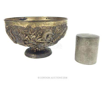 A Japanese antimony bowl and a pewter tea caddy