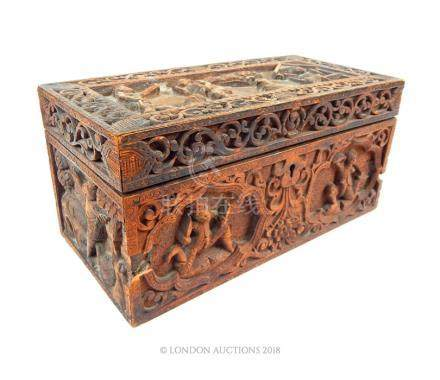 An early 20th century Indian carved wood box