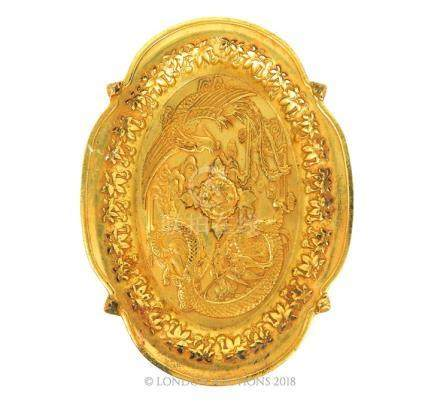 A Chinese Gilt Metal Oval Dish.