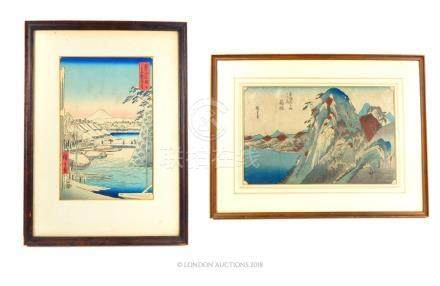 Two Japanese wood block prints..