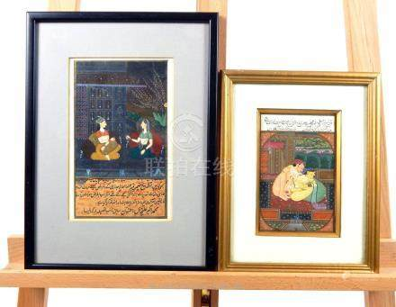 Two Mughal Indian gouache paintings, one depicting an erotic scene