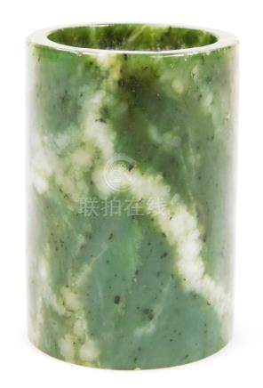 A Chinese spinach jade vase, of plain cylindrical outline, 8cm H.