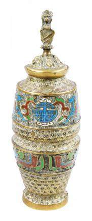 A Chinese brass and champleve enamel cylinder vase and cover, with European stylised lion and shield