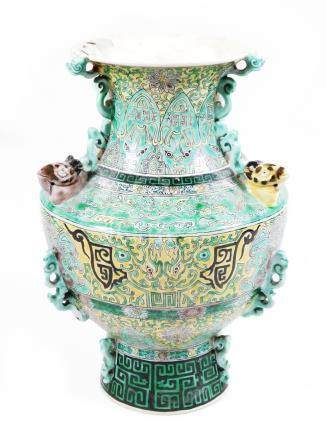 A 19thC Chinese green and imperial yellow ground shouldered vase, the neck decorated with polychrome