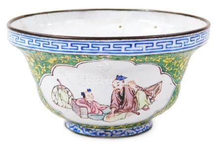 A 19thC Chinese cloisonne bowl, of bellied circular outline, on a circular foot, with an upper