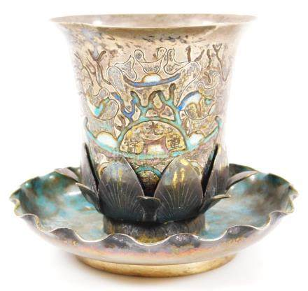 A Chinese beaker, on flared acanthus leaf base, the main body set with script and picked out in