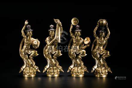 A Group of Four Gilt-Bronze Figures