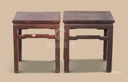 清代(1644-1911) 红木束腰方几 (一对)