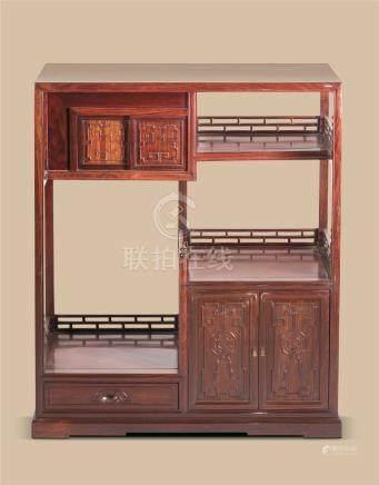 清代(1644-1911) 红木吉庆纹博古柜