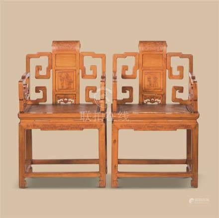 黄杨木人物纹太师椅 (一对)