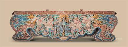 元代-明代(1279-1644) 金丝楠木雕彩皿力士挂匾