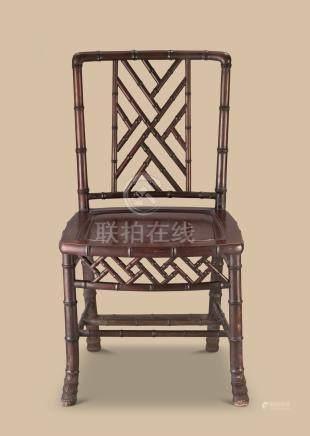 清代(1644-1911) 红木竹节纹椅