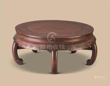 红木五足圆桌