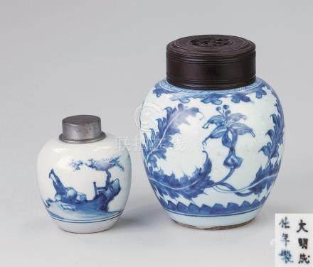 清代(1644-1911) 锡包青花人物纹 花卉纹茶叶罐 (二件一组)
