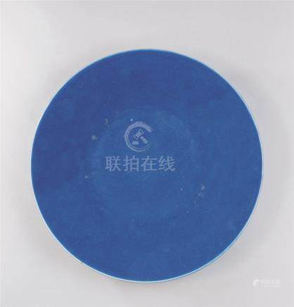 清代(1644-1911) 蓝釉大盘