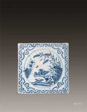 青花鸳鸯戏水图纹瓷板